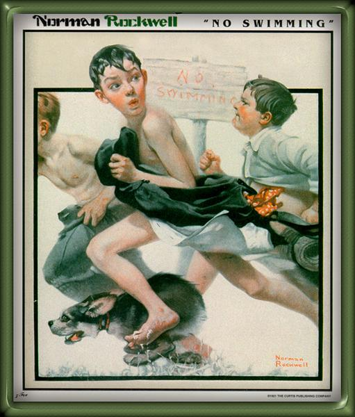 "Old-Fashioned Summer Challenge: Norman Rockwell, ""No Swimming"" 1921"