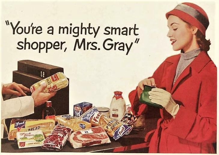 A Vintage Housewife Doing the Marketing for a Very Vintage December