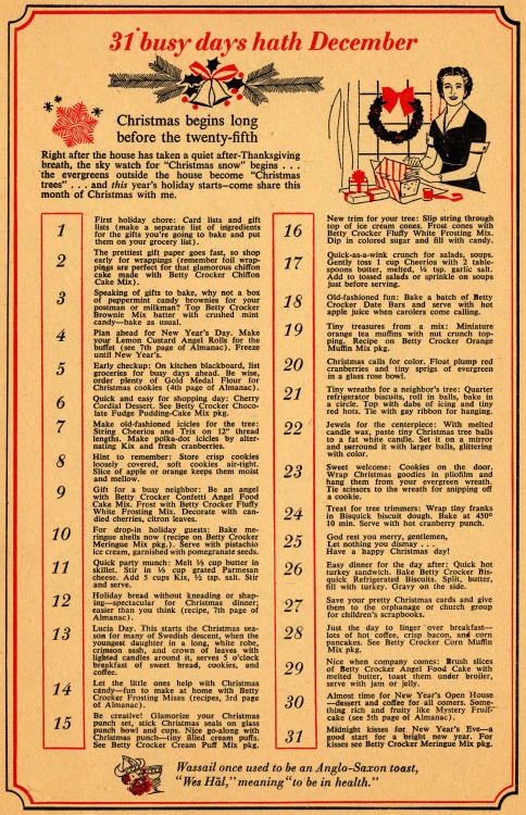 1950s Betty Crocker's 31 Busy Days of December Countdown for a Very Vintage December, from General Mills