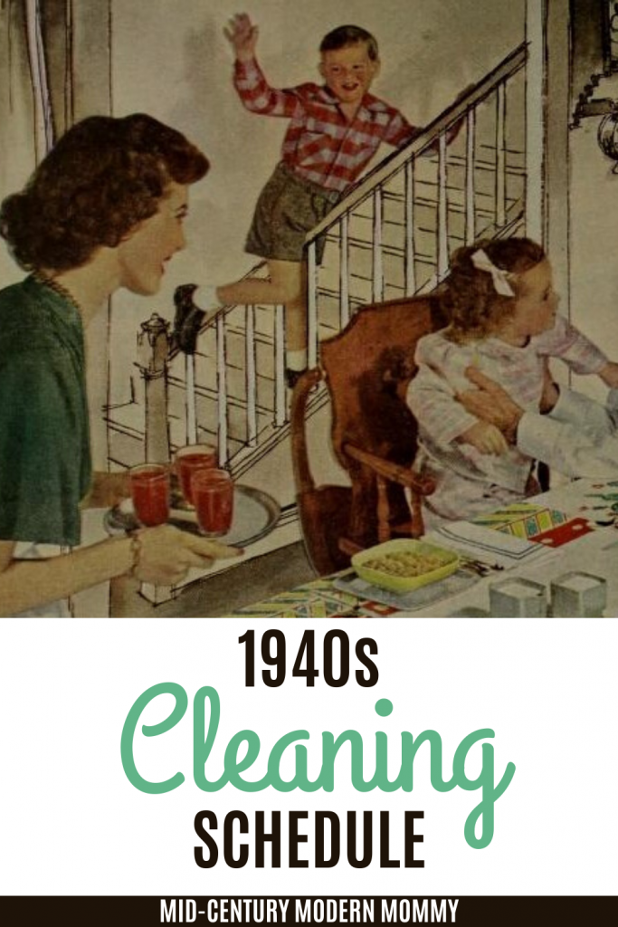 Please pin this image of a 1940s family at breakfast for this 1940s Cleaning Schedule by Mid-Century Modern Mommy