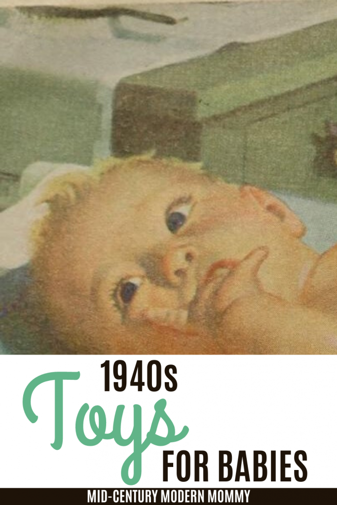 Pin this 1940s advertising illustration of a baby for 1940s Toys for Babies by Mid-Century Modern Mommy