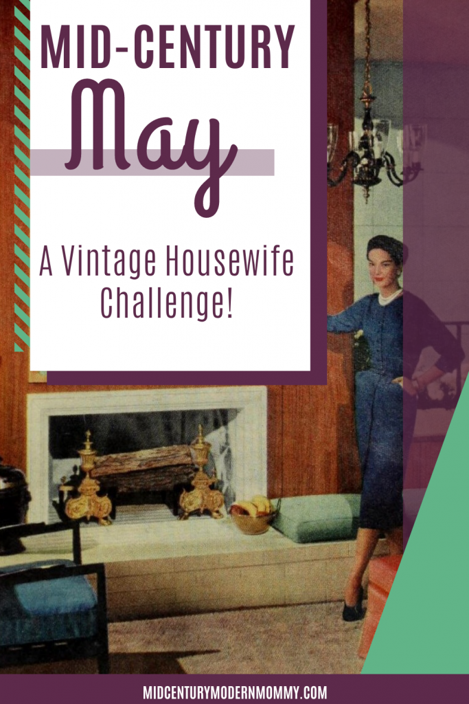 Pin this image of a 1940s housewife for the introduction to the Mid-Century May Challenge.