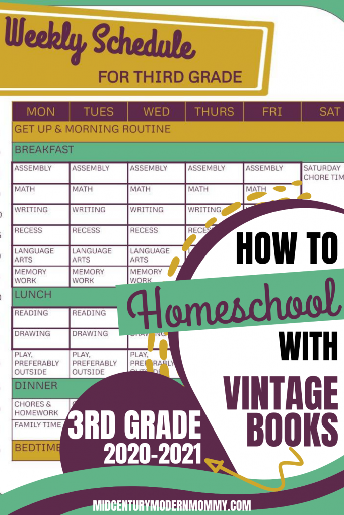 Pin this for How We Homeschool Using Vintage Books in 3rd grade