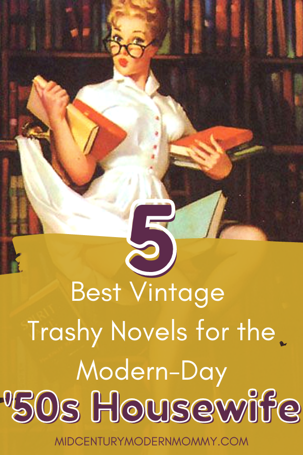 Librarian pinup by Elvgren altered for pin image for The Top 5 Trashy Novels for the Modern-day '50s Housewife